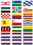All 12 Netherlands Regions' Flag Stickers - 21 per sheet